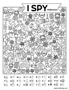 Free Printable I Spy Halloween Activity - Paper Trail Design Free Printable I Spy Halloween Activity. Print this fun Halloween I spy game for a classroom party game or church harvest party. Halloween Activities, Holiday Activities, Activities For Kids, Disney Activities, Group Activities, Classroom Fun, Classroom Activities, I Spy Games, Board Games