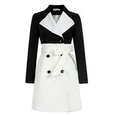 Color Block Double Breasted Trench Coat ($116) ❤ liked on Polyvore featuring outerwear, coats, jackets, tops, coats & jackets, color block trench coat, colorblock coat, white trench coat, white double breasted coat and white coat