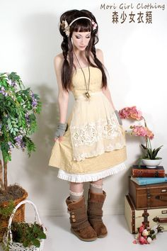 cute yellow dress. i actually do like it with the boots and socks