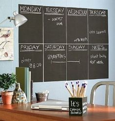 Atalanta® Durable Weekly Wall Planner Vinyl Chalkboard Sheet Wall Decal Blackboard Set of 8 with 1 White Color Liquid Chalk Marker