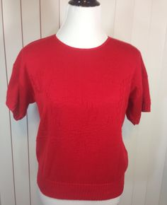 Vintage Red Nautical Short Sleeve Sweater with Sailboat, Anchor, Sea Gulls, Flags & Anchor Line Made in USA By Keneth Too Size Large by Oldtonewjewels on Etsy