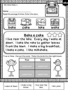 Looking for interactive activities for phonics reading practice? This long vowel reading pack is a perfect choice. It includes multiple activities, such as story sequence, reading cut and paste, comprehension Q & A, for reading skill reinforcement. #reading #comprehension #elementaryworksheet #longvowel #phonicsfirstgrade Reading Comprehension Activities, Phonics Reading, Teaching Phonics, Phonics Activities, Reading Passages, Reading Strategies, Reading Skills, Interactive Activities, Phonics Chart