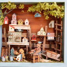 #miniature#teddybear#birdhouse#handmade#ミニチュア#ベア#くま#鳥#手作り#tsplace完成  Done!! 完成〜!