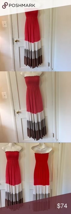 Double Zero cotton strapless maxi dress size XS Double Zero cotton strapless maxi dress size XS. Coral, white, grey and brown. Dress up or down. Super comfy and easy to wear! NWOT. Never worn. Double Zero Dresses Maxi