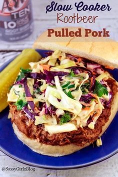 Root Beer Crockpot Pulled Pork Recipe - Perfect for busy weeknight dinners! Sweet and tangy add my spicy slaw or a bit of a kick! Crock Pot Slow Cooker, Crock Pot Cooking, Slow Cooker Recipes, Crockpot Recipes, Cooking Recipes, Quick Meals, No Cook Meals, Sandwiches, Pulled Pork Recipes