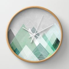 Graphic 107 X Wall Clock by Mareike BaPhmer - Natural - White Rock Around The Clock, Unusual Clocks, Modern Clock, Produce Bags, Wood Clocks, Home Decor Inspiration, Hand Coloring, Cool Designs, Wall Decor