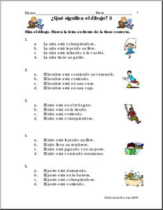 Spanish: Frases con dibujos #3. - Spanish grammar and vocabulary using picture sentences. Practique vocabulario y estructura gramatical con frases y dibujos.