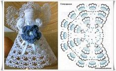 Angel with arm detail pattern Crochet Doily Patterns, Thread Crochet, Crochet Motif, Irish Crochet, Crochet Christmas Ornaments, Christmas Angels, Handmade Christmas, Christmas Crafts, Crochet Angels
