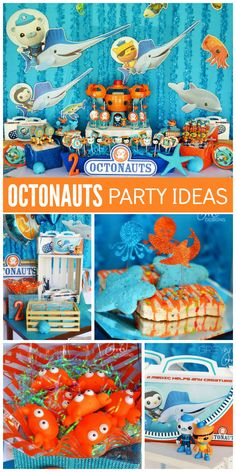 An incredible blue and orange Octonauts boy birthday party with amazing decorations and treats! See more party planning ideas at CatchMyParty.com!