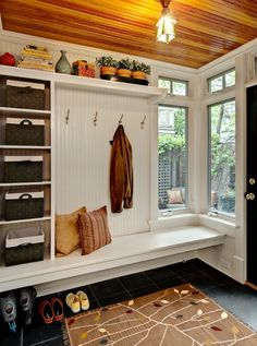 "Country Entryway with Ms international montauk black 12"" x 12"" slate tile, Mudroom, Casement, Open shelving, Paint 1"