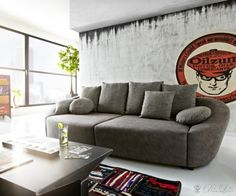 SOFA SKYE www.delife.eu/lifestyle-produkte/sofas-sessel/sofas/sofa-skye-305x116cm-grau-couch-mit-schlaffunktion-und-bettkasten/a-7056/?campaign=smm%2FPinterest Furniture, Home Decor, Modern Sofa, Armchair, Products, Living Room, Grey, Decoration Home, Room Decor