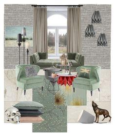 """""""Penicillium"""" by juliakrasnova on Polyvore featuring interior, interiors, interior design, дом, home decor, interior decorating, Wall Pops!, Surya, Safavieh и Inspire Q"""