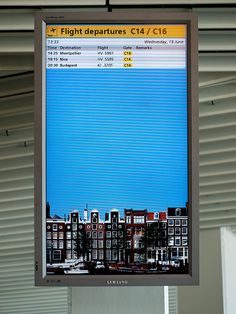 electronic signage, Schiphol Airport, Amsterdam by Dale Simonson, via Flickr