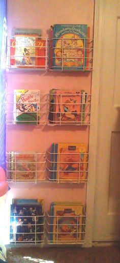 We turned these dollar store spice racks into wall-mounted bookshelves.