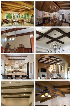 Very afforadable & easy to install, faux wood beams can add a pop of color and dimension to your ceilings, all with a nod to today's modern wood trend. Wood, Faux Wood Beams, Faux Tin Tiles, Ceiling Design, Wood Decor, Faux Wood, Wood Beams, House Interior, Decorative Ceiling Tile