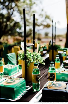 Kids party table in a green and gold theme on a farm setting Go Bokke, Kids Party Tables, South African Flag, Car Themed Parties, Party Co, Blog Online, Candy Table, 7th Birthday, Party Themes