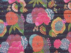 Twin Kantha Quilt Blanket  Kantha Quilted by Labhanshi on Etsy, $25.00