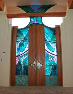 Smoketree Ranch. Stained Glass Doors from interior by James Hubbell