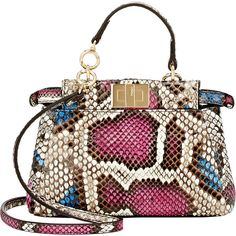 Fendi Peekaboo Micro Python Satchel ($2,550) ❤ liked on Polyvore featuring bags, handbags and colorless