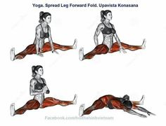 What muscles are targeted in the yoga spread leg forward fold