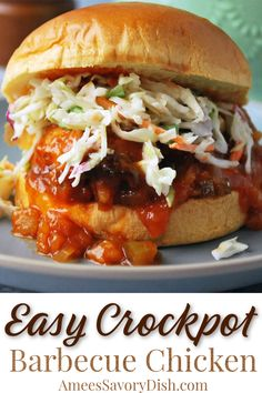 A flavorful recipe for Crockpot BBQ chicken that cooks while you go about your day! Serve as pulled BBQ chicken or whole with your favorite sides. #crockpotBBQchicken #bbqchicken #crockpotchicken #barbecuechicken #easyhealthymeals #chickenrecipe #slowcookerbbq via @Ameecooks Crockpot Dessert Recipes, Easy Healthy Recipes, Healthy Cooking, Healthy Meals, Delicious Recipes, Best Chicken Recipes, Real Food Recipes, Turkey Recipes, Slow Cooker Bbq