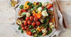 For a gluten-free vegetarian side try this chargrilled vegetable salad served with whipped basil fetta. Tray Bake Recipes, Salad Recipes, Xmas Recipes, Dinner Recipes, Small Food Processor, Food Processor Recipes, Salmon Tray Bake, Vegetable Salad, Vegetable Ideas