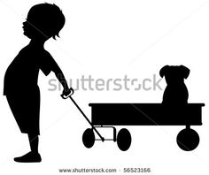 Boy With His Pet In A Wagon Silhouette Stock Vector 56523166 : Shutterstock