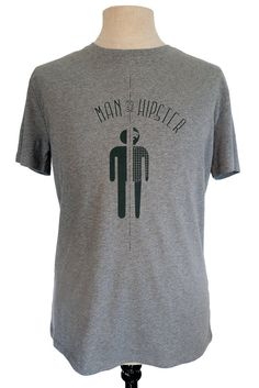 Half Man Half Hipster t-shirt, mid heather grey with black print, eco friendly, fair wear, by Poor Edward