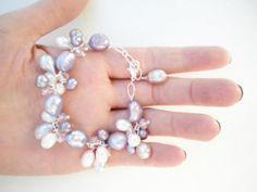 Bracelet Wedding Bracelet Purple bracelet Bridal by Perriewinkles