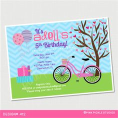Girl Bike Party Birthday Invitation or Thank by PinkPickleParties, $10.00