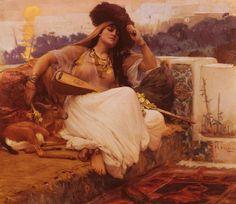 L'Indolence, Oil by Frederick Arthur Bridgman (1847-1928, United States)