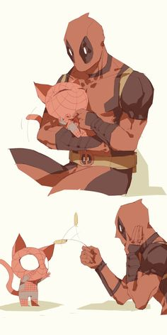 Deadpool with Spidey Cat