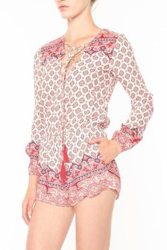 Tie up front with loop button closure on back neck. Elastic waist.Thin elastic sleeve for adjustable positioning. Shorts are fully lined.  Paisley Romper by Cotton Candy. Clothing - Jumpsuits & Rompers - Rompers Las Vegas