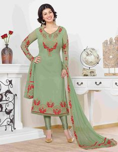 Indian Salwar Kameez Cat. 4444 no. 2592 This Summer Is All About Sorbet Shades Pastel Play. Grab This Pastel Green Colored Suit Paired With Pastel Green Colored Bottom And Dupatta. This Suit Is Fabricated On Georgette Paired With Santoon Bottom And Chiffon Dupatta. Buy This Lovely Suit Now