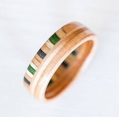 Skateboard Ring - Wooden bands - Wood Ring - Gift - Canadian Maple - Green- Wooden Jewelry - Waterproof Ring - Skate Ring - Natural