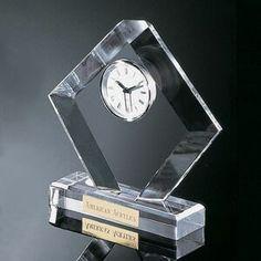 "Clear Acrylic Award Clock (8 1/2""x7 1/2""x2"")"