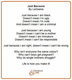 """Just Because"" -- a poem from our reading circle participant, LeGeena Im Ugly, Just Because, Being Ugly, Circles, No Response, Poems, Shit Happens, Reading, I Am Ugly"