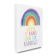 It's easy to stay encouraged when the The Stupell Home Decor Collection Look for Rainbows Canvas Wall Art is displayed. This charming wall art is. Kids Canvas, Canvas Wall Art, Canvas Prints, Abstract Canvas, Abstract Print, Thing 1, Typography Art, Kids Prints, Painting For Kids
