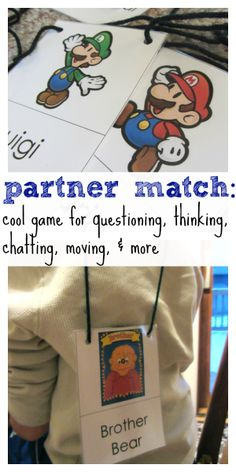 partner match: cool game for questioning, thinking, chatting, moving, and more | free printable from teachmama.com