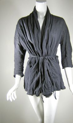 L.A.B. LAURIE ANN BRAZEAU Blue Gray Metallic Belted Cardigan Sweater Size Medium #BCBGMAXAZRIA #Cardigan