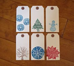 Hand Stamped Winter Gift Tags Set of 12 by jessnielsen on Etsy