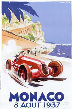 Geo Ham - 1937 monaco grand prix race - love this retro poster Posters Uk, Art Deco Posters, Poster Prints, Vintage Wood Signs, Pub Vintage, Vintage Racing, Vintage Labels, Unique Vintage, Old Poster