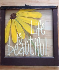 Hand painted window instead of a traditional painting or photograph /// easy for anyone to add a personal and fun touch to their home Upcycled Crafts, Diy Crafts, Repurposed, Diy Projects To Try, Craft Projects, Cadre Photo Diy, Old Window Projects, Window Ideas, Picture Frame Crafts