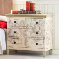 world map drawers decoupage Carson's room
