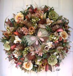 Tuscan Wreath-Deco Mesh Wreath-Any Season/ Fall by SeasonalWreaths