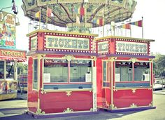 Red Carnival Ticket Booths Vintage Style 8x10 by EyeShutterToThink