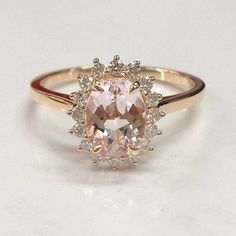 Morganite Diamond Engagement Wedding Ring,Solid 14K Rose Gold,6x8mm Oval Cut