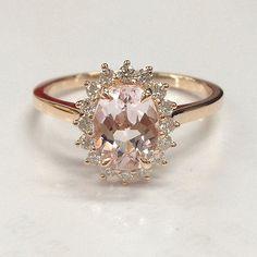 Morganite Diamond Engagement Wedding Ring,Solid 14K Rose Gold,6x8mm Oval Cut
