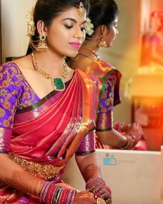 bridal sets & bridesmaid jewelry sets – a complete bridal look Indian Bridal Sarees, Celebrity Jewelry, Bride Portrait, Elegant Saree, Bridesmaid Jewelry Sets, Bridesmaid Gifts, South Indian Bride, Bridal Sets, Bridal Looks