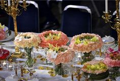 Flower arrangement at the Nobel prize banquet in 2015 made by Swedish florist Per Benjamin
